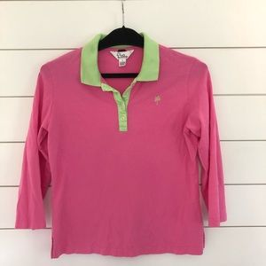 Lilly Pulitzer Long Sleeve Polo Shirt Pink